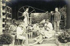 Appalachian People | Children at the Log House, Pine Mountain Settlement School, between ...
