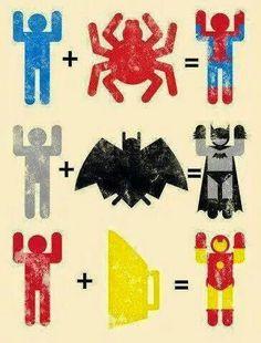 Man + Spider = Spiderman  Man + Bat = Batman  Man + Iron = Ironman