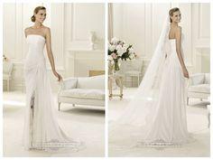 2014 Charming Flattered Strapless Draped Wedding Dresses with Split Skirt