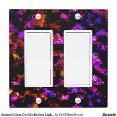 Stained Glass Double Rocker Light Switch Cover
