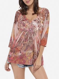 Loose Fitting V Neck Dacron Printed Blouse Only $16.95 USD More info...