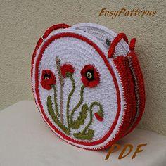 Poppy meadow handbag crochet Pattern