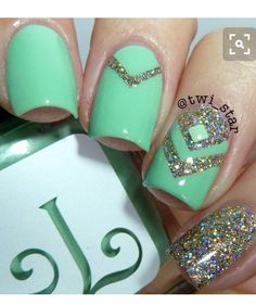 Sea green and glitter nails