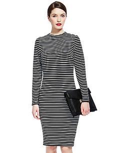 Column Striped Bodycon Dress | M&S