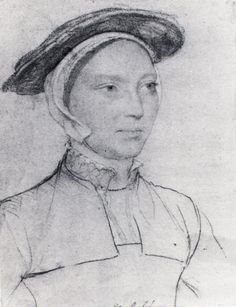Anne Parr, 1515 -1552.Younger sister of Katherine Parr, married became Anne Herbert countess of Pembroke. One of few ladies to serve all 6 of Henry's Queens. Well educated due to court connections, mother Maud lady to catherine of Aragon, head of court school, Latin, French, Philosophy classics, girls and boys together.  - sketch by Hans Holbein the Younger.