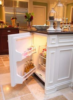 hidden mini fridge in kitchen island