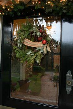 vignette design: The Holiday Entry - upholstery webbing @ Joann's, burlap ribbon @ Michael's