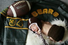photo- football, knit hat and dads football jersey - love this idea