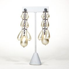 1980's Rhinestone and Pearl Drop Chandelier Earrings