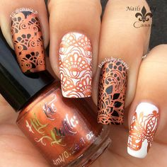 Nails by Cassis: Hit The Bottle Stamping Polish 'Copper haired Girl' | Stamping plate iMoYou London Bridal 07  #HitTheBottle