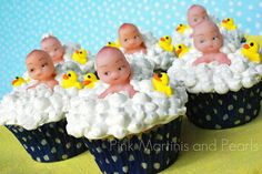 Bubble Bath Baby Cupcakes! by Pink Martinis and Pearls, via Flickr