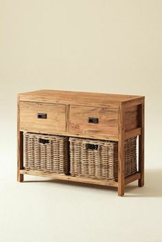 Reclaimed Teak Storage Unit/Storage Chest with 2 Drawers plus 2 Kubu Grey Natural Wicker Basket