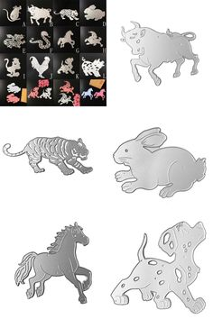 [Visit to Buy] Metal Chinese zodiac Animal Metal Cutting Dies Stencil DIY Scrapbooking Embossing Album Paper Card Craft Puppy/Horse/Tiger molds #Advertisement