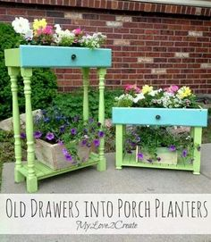 Old drawers into planters