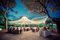 Ceiling of draped lights via Ambient Lighting / Wedding Style Inspiration / LANE