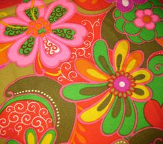 Mod 70s Psychedelic Print  Fabric  Large Bright by SelvedgeShop, WILD!