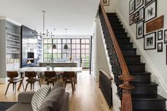 We came across this Elizabeth Roberts designed New York Brownstone while slavishly trawling through the NYC Real Estate sites looking… Read New York Brownstone, Brooklyn Brownstone, Brownstone Interiors, Modern Townhouse Interior, Modern Staircase, Staircase Design, Staircase Ideas, Dark Staircase, Stairway