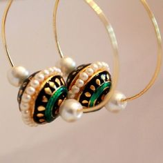 gold hoop earrings with pearls and large black,gold and green beads