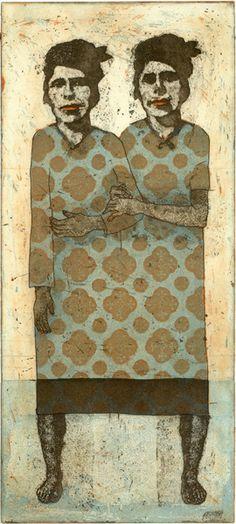 Piia Lehti, Tädit etching, aquatint, copy etching 35 x 16 Le Double, Etching Prints, Illustration Techniques, Outsider Art, Gravure, Figure Drawing, Figurative Art, Printmaking, Watercolor Art