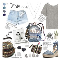 Denim Shorts by Sasoza by sasooza on Polyvore featuring polyvore fashion style Frame Denim MICHAEL Michael Kors Chanel Terre Mère Bobbi Brown Cosmetics Marc Jacobs Allstate Floral clothing