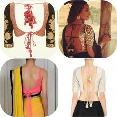 Back Tie Up Neckline saree blouse collection Top 7 blouse necklines for wedding and parties Sonakshi Sinha saree blouse