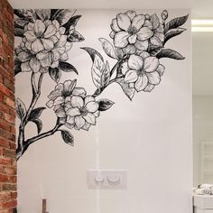 Buy Large hand-painted floral wall sticker living room bedroom study room sofa background decoration at Wish - Shopping Made Fun Flower Mural, Flower Wall Decor, Floral Wall Art, Flower Decals For Walls, Mural Painting, Mural Art, Wall Paintings, Background Decoration, Bedroom Murals
