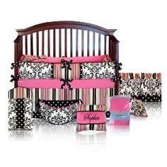 Cute Pink and Black Crib Bedding Set