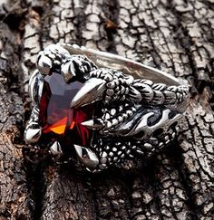 Red Sterling Silver Claw Ring