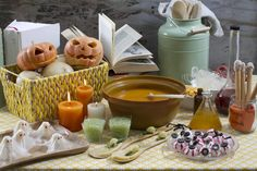 Halloween Spread...Healthy Halloween Treats. It's Not Just About Candy...Purple Potion Beet Soup, Witch's Potion Broccoli Soup and Magic Potion Pumpkin Soup. Magic wand, witches teeth, snails, eyeballs, slime and rice paper ghosts