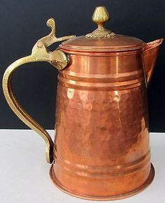 Vintage-Hammered-Copper-Coffee-Pot-Brass-Gregorian