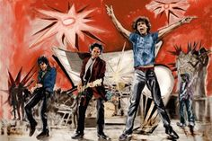 """Ronnie Wood Art Collection - """"Big Bang Red"""" - Digital Screen print '06, Image 56.2cm x 83.6cm Edition 290 / AP 30.  See the Ronnie Wood Collection - http://www.rockstargallery.net/ronnie-wood-art #ronniewood #rollingstones #rockstargallery"""