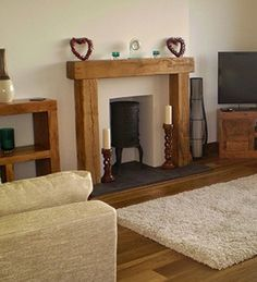 Solid Oak Fire Place = handcrafted at Celtic Oak - Penclawdd Solid Oak, Beams, Celtic, Fire, Places, Handmade, Home Decor, Hand Made, Decoration Home