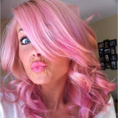 My new pink hair- my top is exactly this color & fades to hot pink!