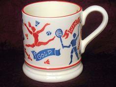 Emma Bridgewater Red Blue on White  2012 Olympic Sports Athletes Mug Cup England