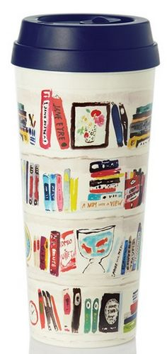 This Kate Spade travel mug is a great gift idea for book-and-coffee lovers. Thermal Mug, Thermal Travel Mug, Library Books, Dream Library, I Love Books, Tea Mugs, Book Nerd, Book Lovers, Coffee Lovers