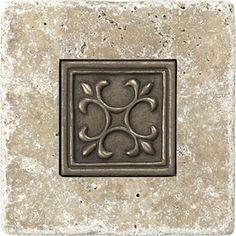 metal ages polished bronze celtic deco accent tile 2x2 10.40