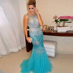 Luxury Sky Blue Long Prom Dresses 2017 Sexy Backless Full Handmade Beaded Crystals Sweep Train Tulle Mermaid Prom Gowns