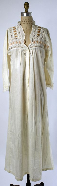 """Cotton Nightgown, 1910's - That would be perfect now.  I will have to find a pattern and see if my sister will """"help me"""" make one..."""