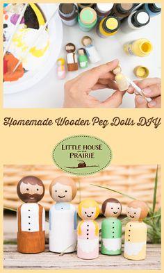 Homemade Wooden Peg Dolls DIY - Toys inspired by Little House on the Prairie