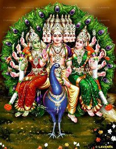 Lord Murugan(also known as Skanda/Kartikeya/Subramaniam/Tandayuthabani/Kumaraswamy/Arumugam) with wives Goddess Valli and Goddess Devasena. Bal Hanuman, Shri Ganesh, Lord Ganesha Paintings, Lord Shiva Painting, Baby Krishna, Lord Krishna, Lord Murugan Wallpapers, Lord Balaji, Lord Shiva Family