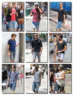 New Men's Denim Shorts Men tide pants patch holes in jeans shorts ...