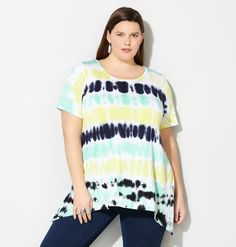 TYE DYE CROCHET BACK TOP, Blue