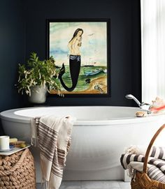 mermaid above the tub. Doing it.