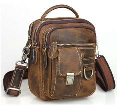 Retro leather sling messenger bag men s fanny pack tote handbag brown 3 way  sport bag free e2d7e0c8a8d82