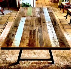 A rustic dining table in reclaimed cycpress.  #interiordesign #rustic #eco #reclaimed #handmade
