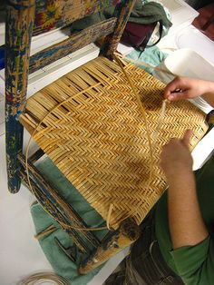 Chair-caning class at Slater Mill. For more information on classes, visit sl. Chair Repair, Furniture Repair, Furniture Projects, Furniture Makeover, Diy Furniture, Woven Chair, Diy Home Crafts, Weaving Techniques, Basket Weaving