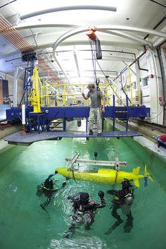 #UmichEngin's Human Powered Submarine Team works in the Marine Hydrodynamics Laboratory