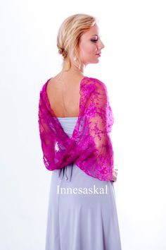 Infinity lace shawl  in fuchsia color, shawl, bolero vest, hooded scarf