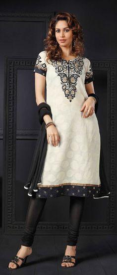 Cream #Cotton Chanderi Readymade #Churidar Kameez @ $109.61