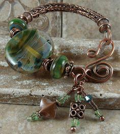 Viking Knit bracelet with artisan lampwork beads